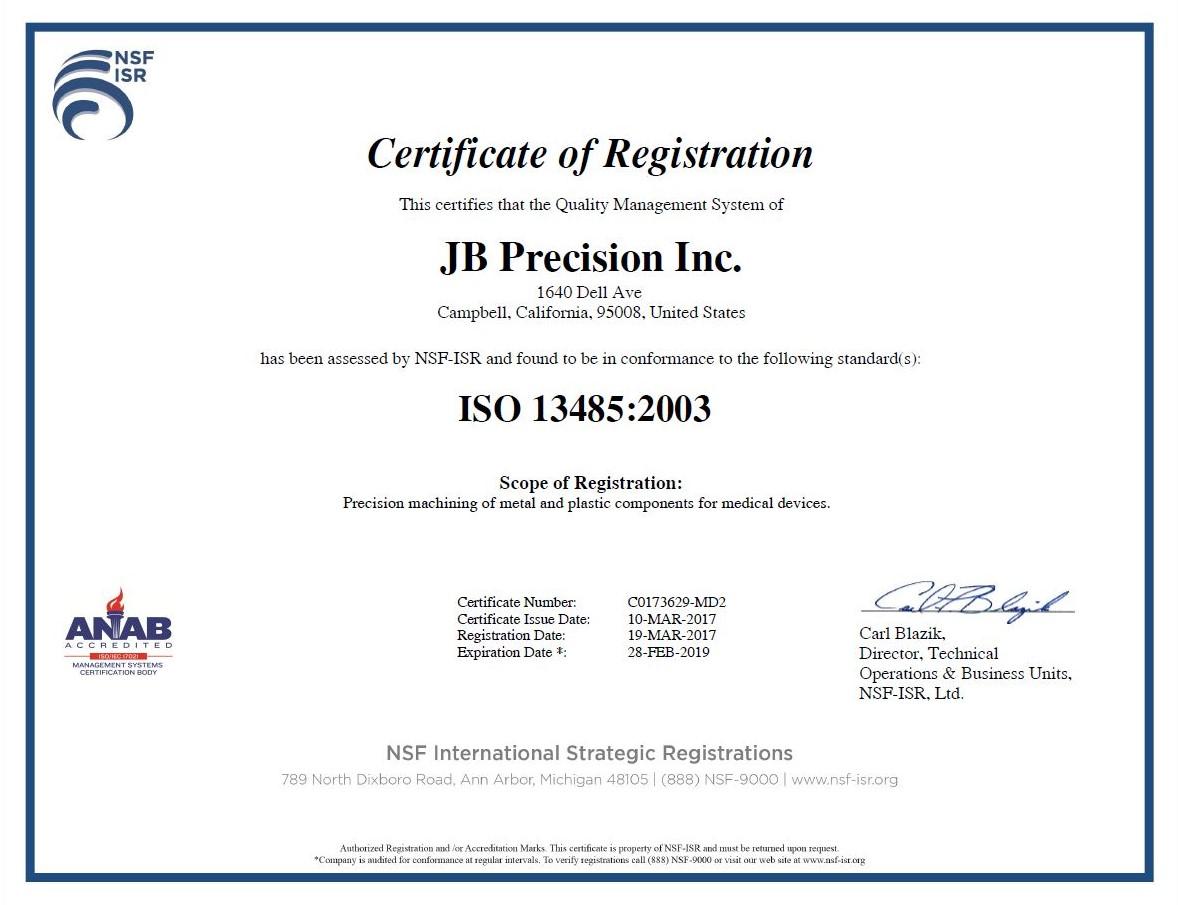 JB Precision Inc ISO 9001 Cert