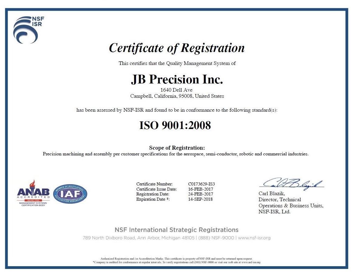 JB Precision Inc ISO 13485 Cert