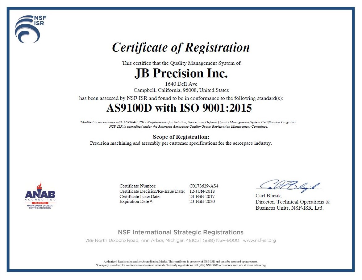 JB Precision, Inc. AS9100 Cert